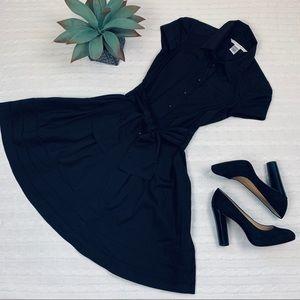 Diane Von Furstenburg black tie waist shirt dress